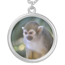 Amazing Squirrel Monkey Silver Plated Necklace