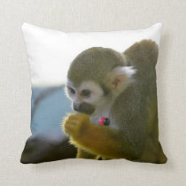 Snacking Squirrel Monkey Throw Pillow