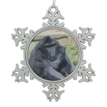 Sulawesi Macaque Snowflake Pewter Christmas Ornament